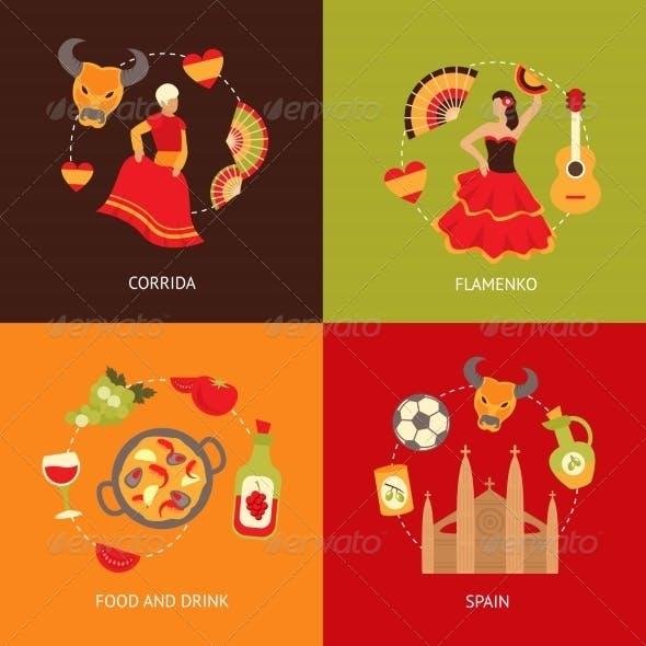 Spain Icons Composition Set