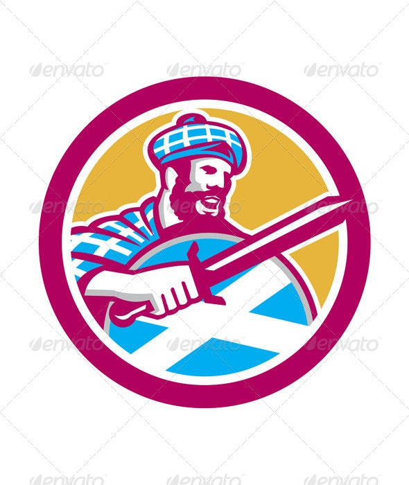 Highlander Scotsman Sword Shield Circle - People Characters