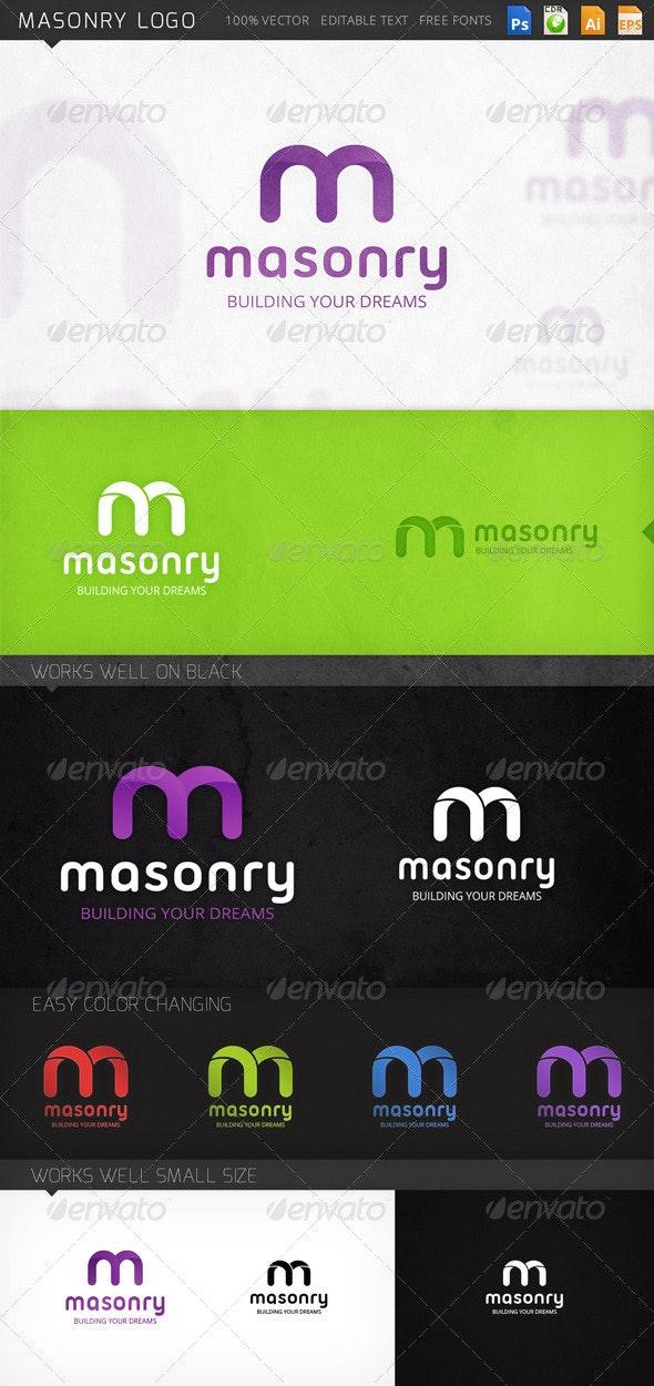 Masonry Letter M Logo Template - Letters Logo Templates