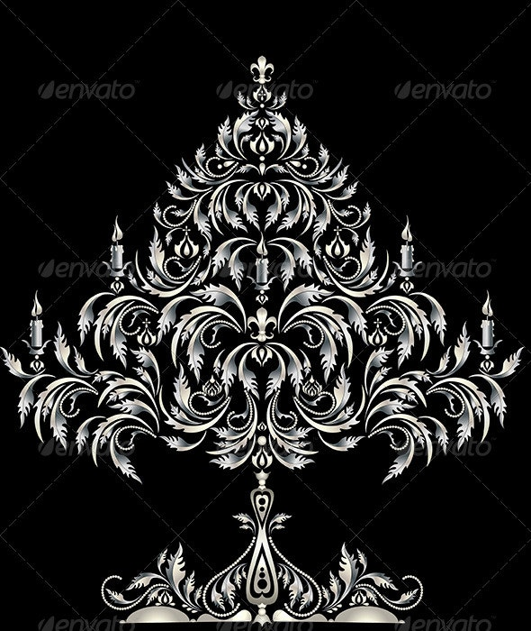 Silver Christmas tree in Victorian style - Christmas Seasons/Holidays