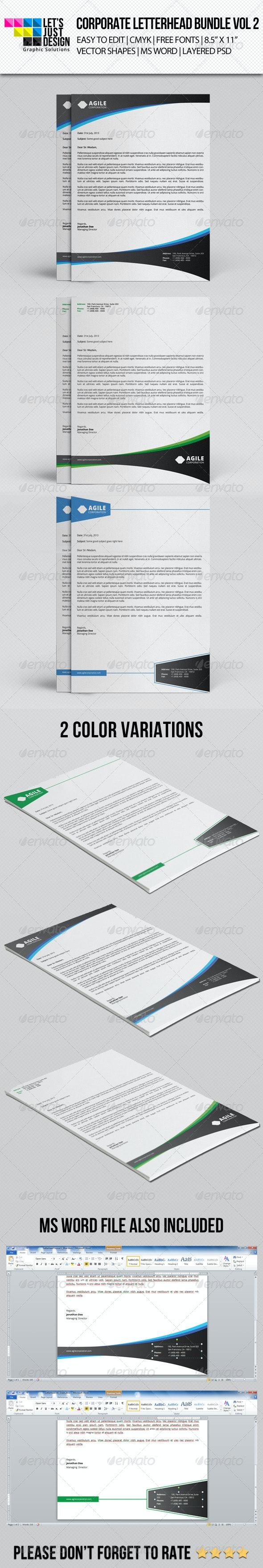 Corporate Letterhead Bundle Vol 2 - Stationery Print Templates