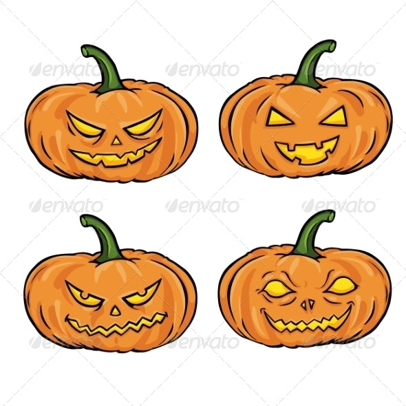 Set of Cartoon Halloween Pumpkins - Halloween Seasons/Holidays