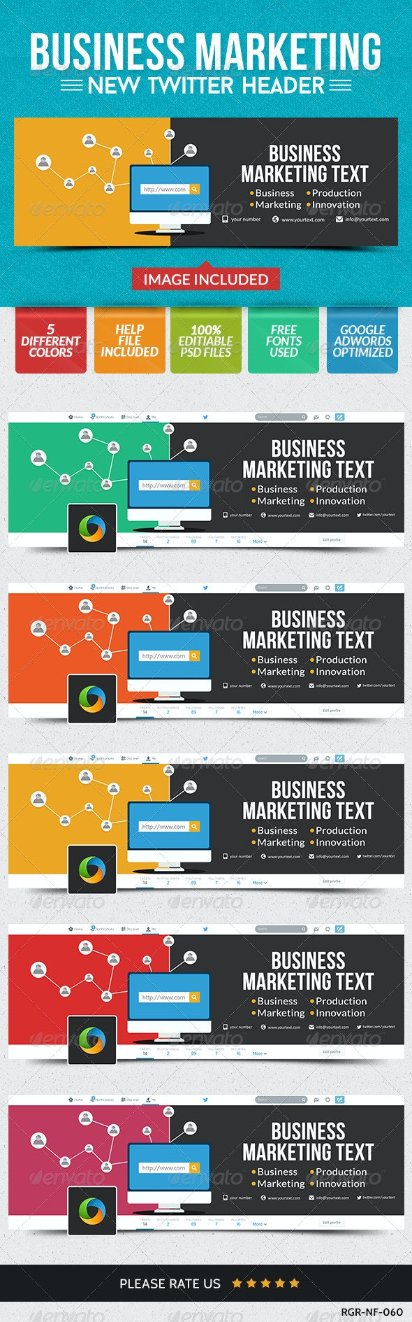 Business Twitter Headers - 5 Colors - Twitter Social Media