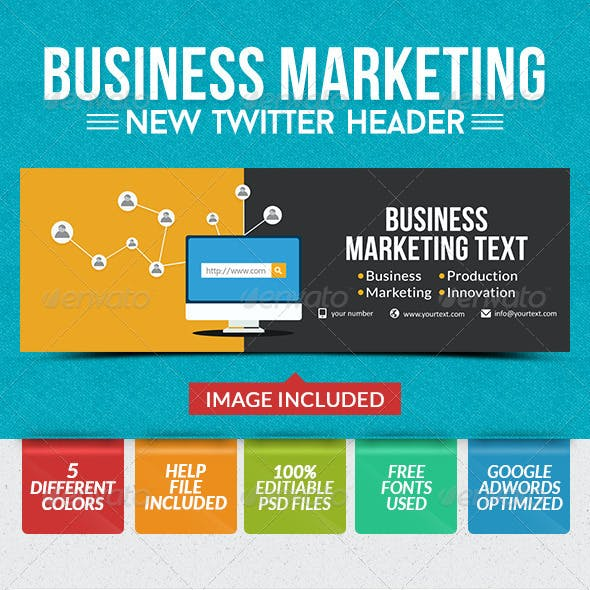 Business Twitter Headers - 5 Colors