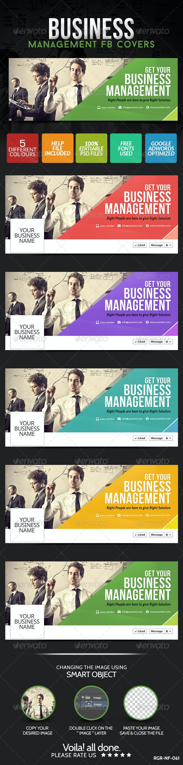 Business Facebook Covers - 5 Colors - Facebook Timeline Covers Social Media