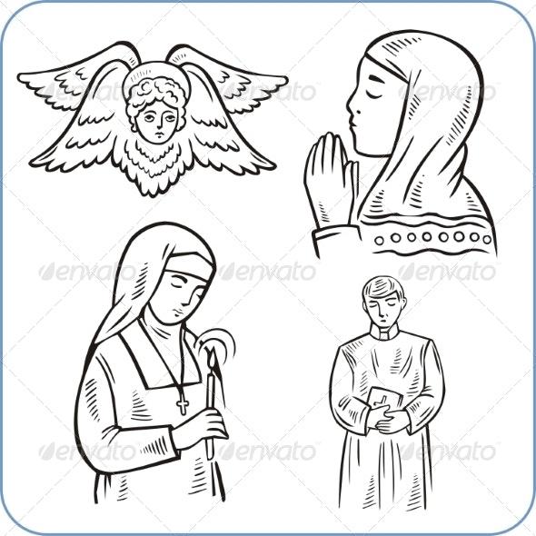 Angels and Saints  - Religion Conceptual