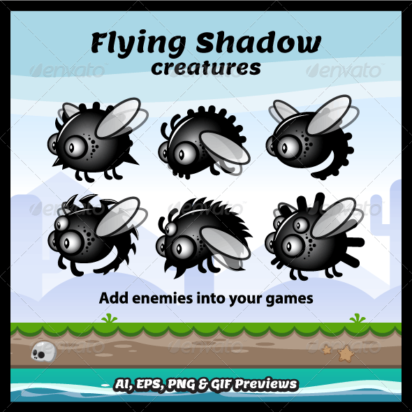 Flying Shadow Creatures Sprite Sheets