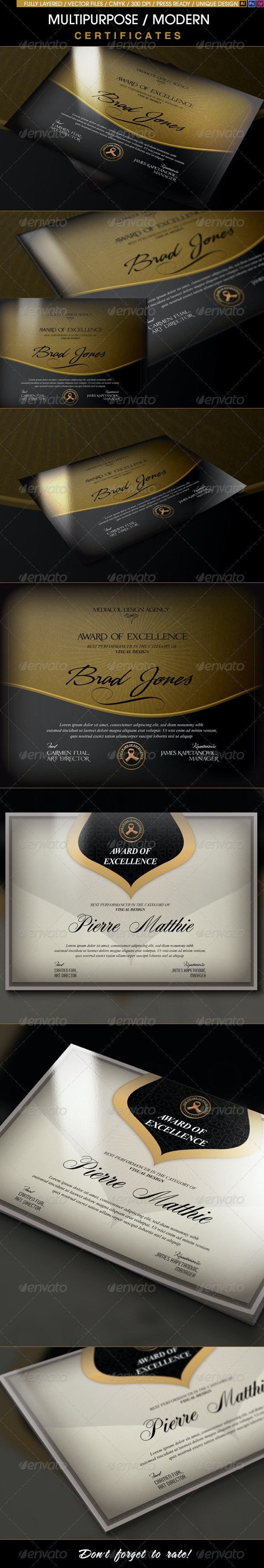 Multipurpose Modern Certificates - Certificates Stationery