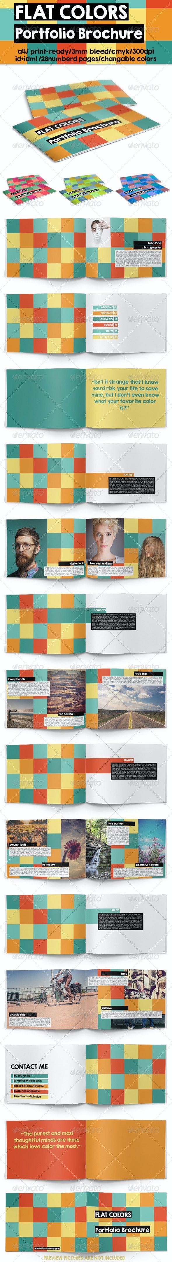 Flat Colors Portfolio Brochure - Brochures Print Templates