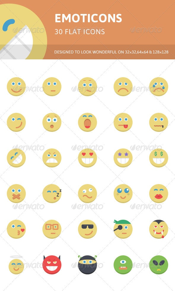 Emoticons Flat Icons - Characters Icons