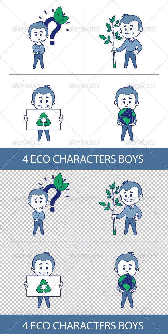 Four Eco Characters - People Characters