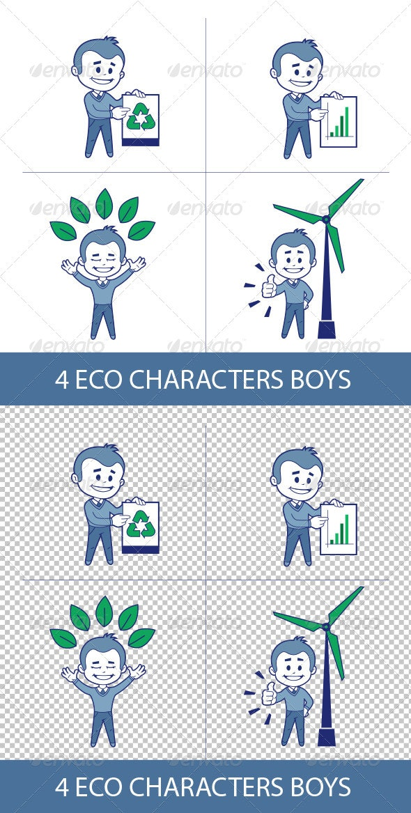 Four Eco Characters Boys - People Characters