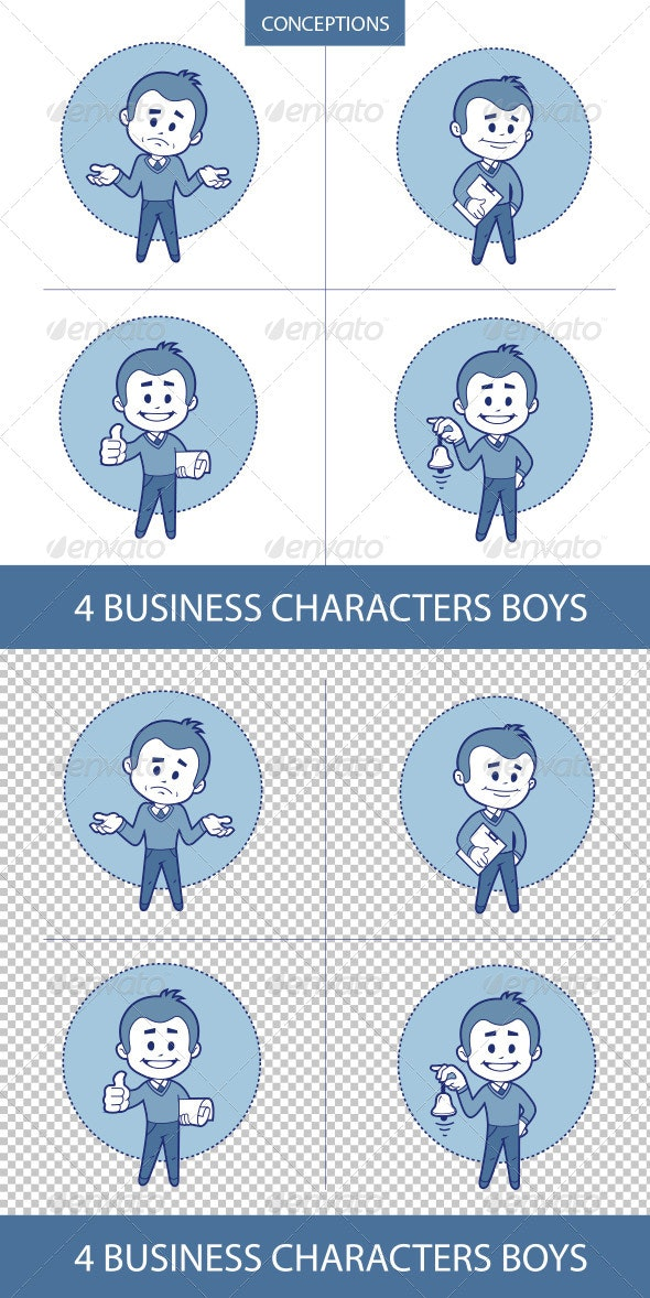 Four Business Characters Mans - Concepts Business
