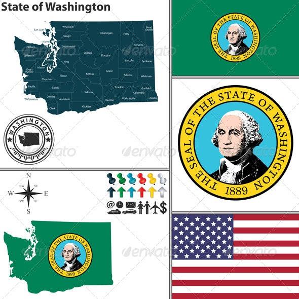 Map of State Washington, USA - Travel Conceptual