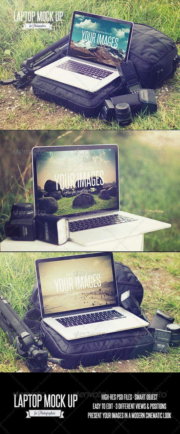 Laptop - Realistic Photographer Mock Up - Laptop Displays