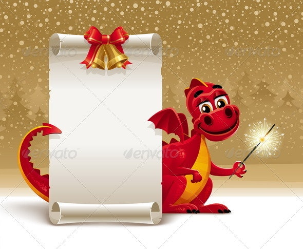 Red Dragon With a Sparkler and Paper Scroll - Characters Vectors