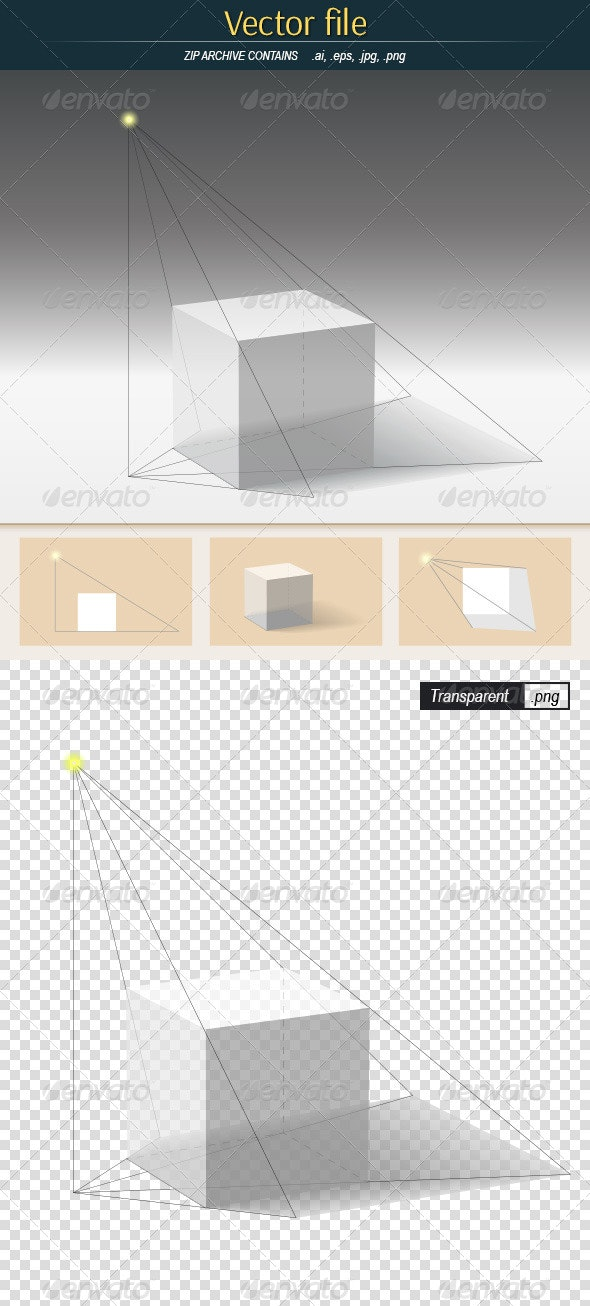 Shadow from Cube - Objects Vectors