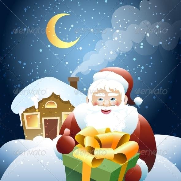 Santa Claus with Christmas Gift - Christmas Seasons/Holidays