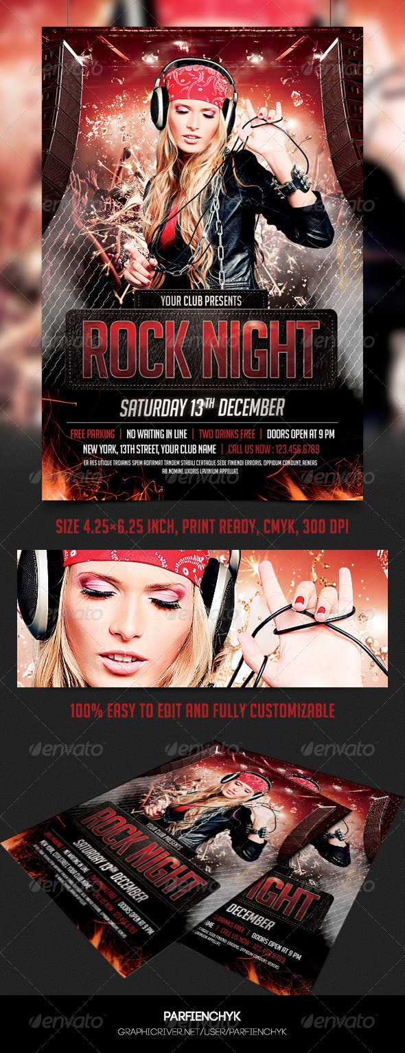Rock Night Party Flyer Template - Clubs & Parties Events
