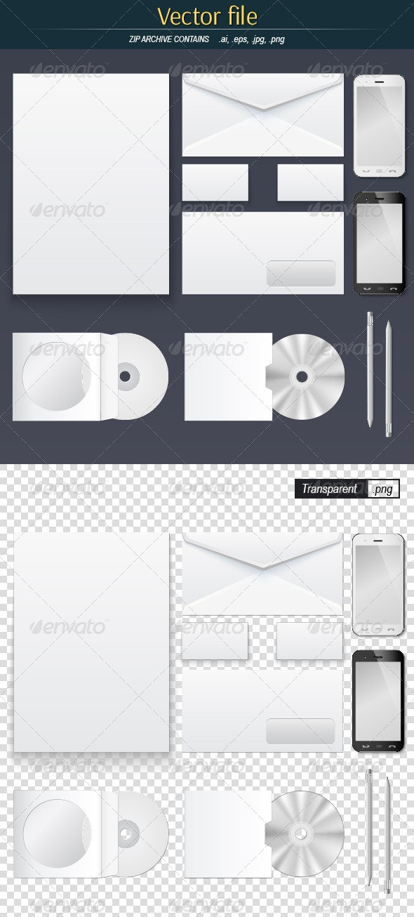 Office Supply Set Mock-Up - Objects Vectors