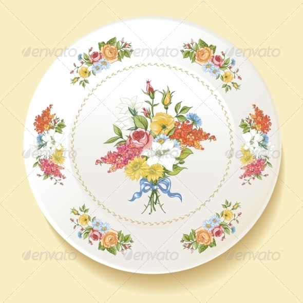 Baroque Bouquet of Wildflowers on White Plate - Patterns Decorative