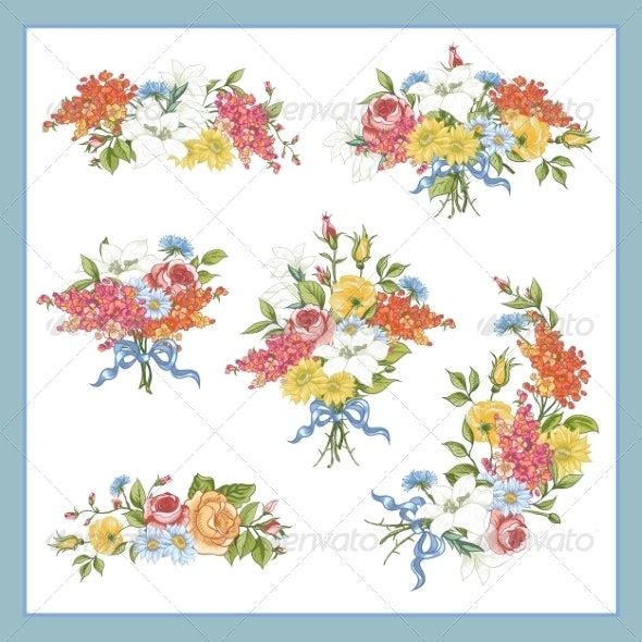 Set of Baroque Bouquet Wildflowers - Patterns Decorative
