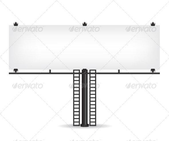 Blank Black Billboard - Objects Vectors