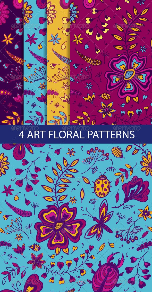 Floral Seamless Pattern with Flowers and Dragonfly - Patterns Decorative