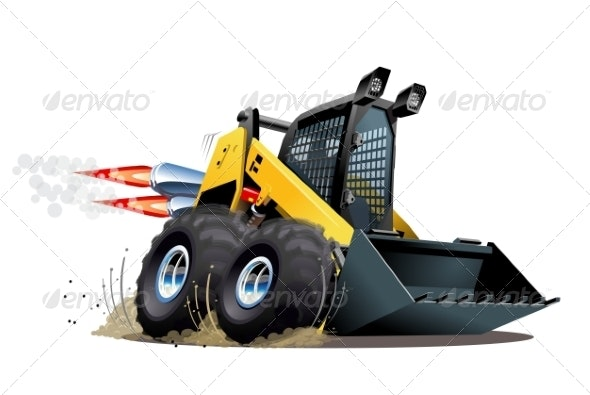 Cartoon Skid Steer - Man-made Objects Objects