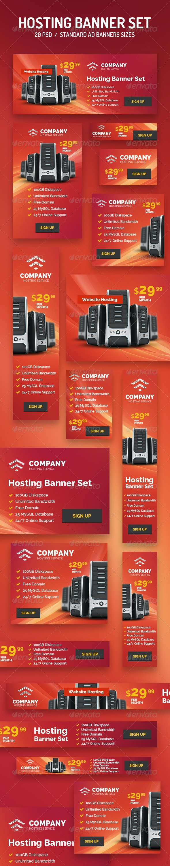 20 Hosting Banner Set - Banners & Ads Web Elements