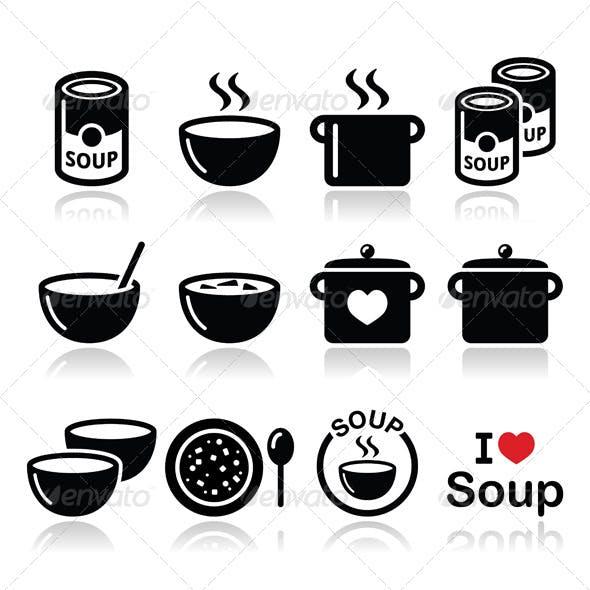 Soup Food Icon Set