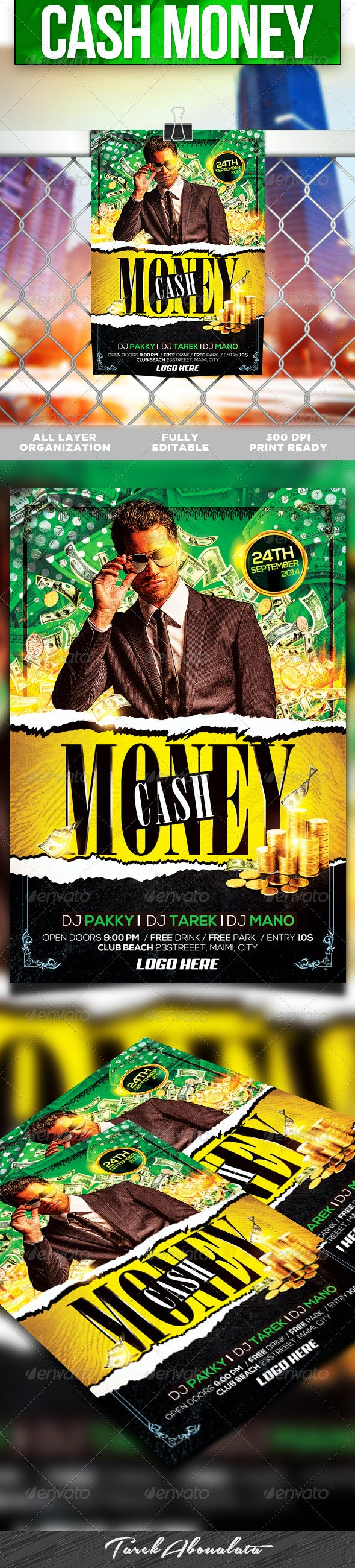 Cash Money Flyer Template v.2 - Clubs & Parties Events