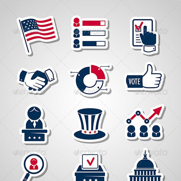 Voting and Elections Paper Cut Icons