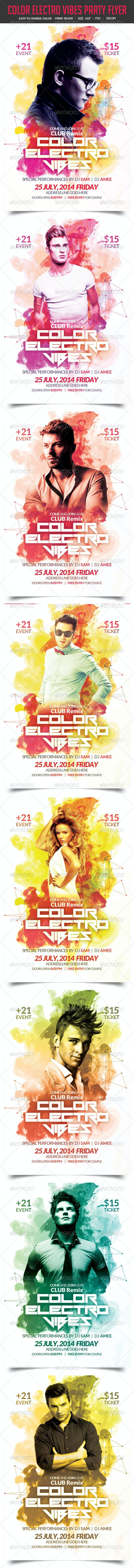 Color Electro Vibes Party Flyer - Clubs & Parties Events
