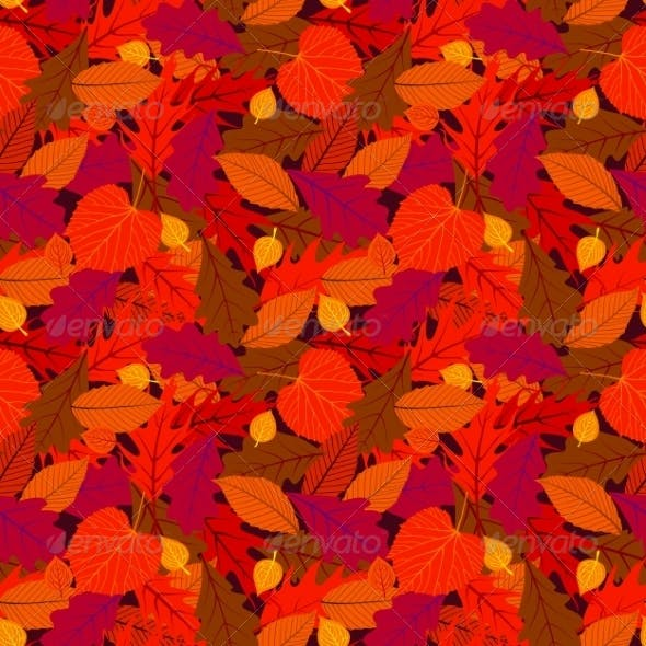 Autumn Seamless Background with Leaves