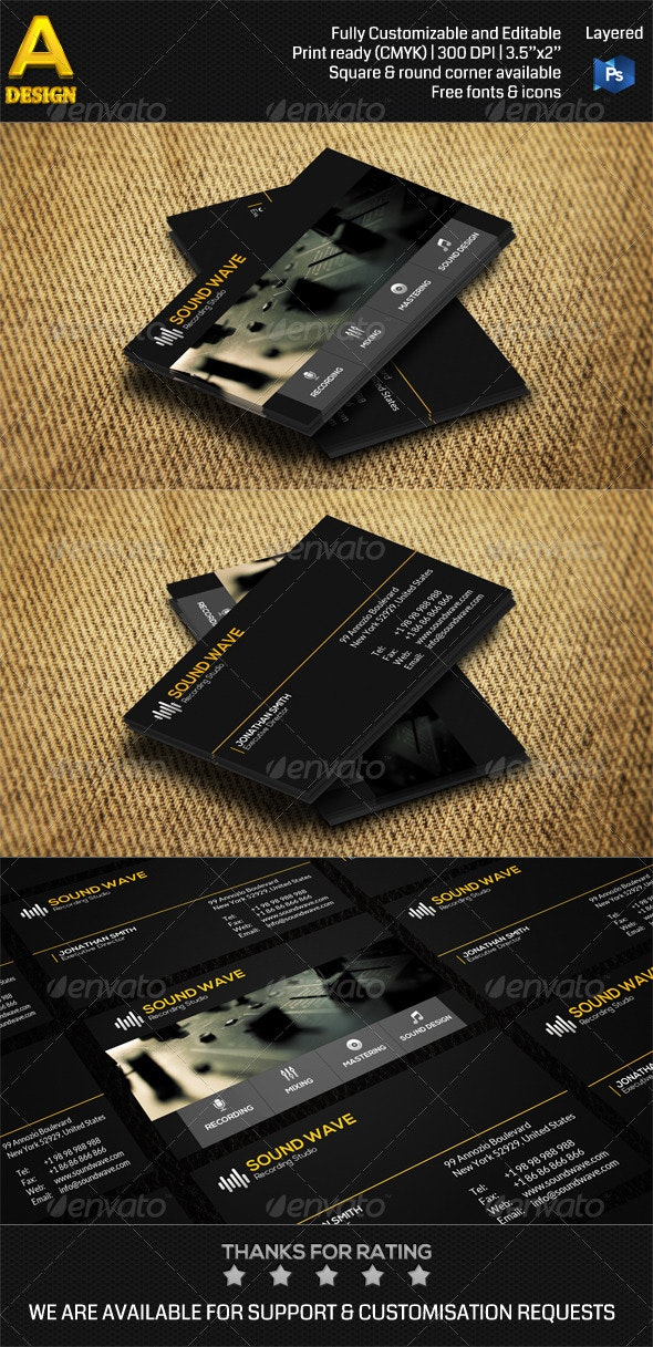 Recording Studio Business Card AN0490 - Industry Specific Business Cards