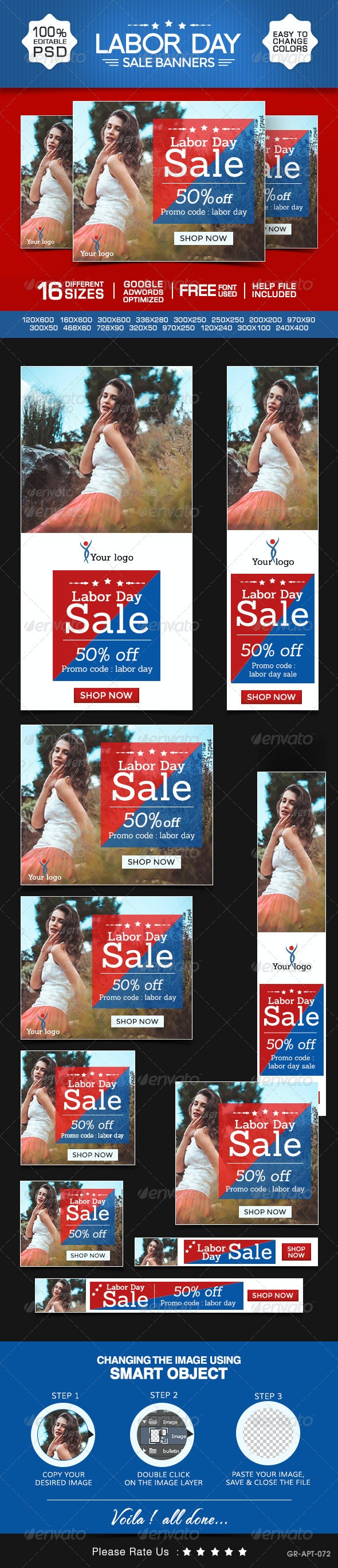 Labor Day Banners - Banners & Ads Web Elements