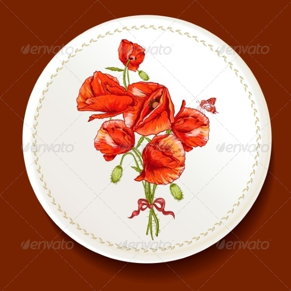 Beautiful Bouquet of Red Poppy on a White Plate - Patterns Decorative