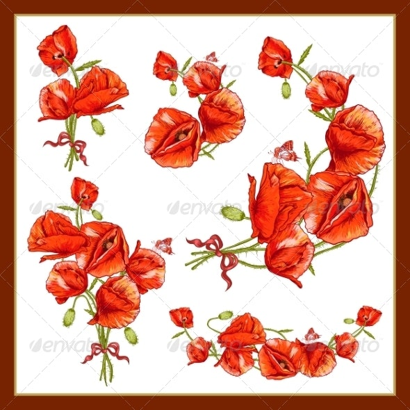 Set of a Beautiful Bouquet Red Poppy - Patterns Decorative