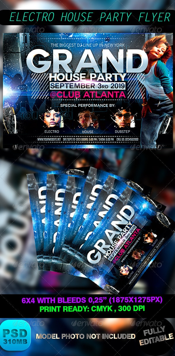 Electro House Party Flyer - Events Flyers