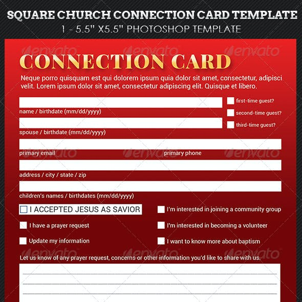 Church Square Connection Card Template