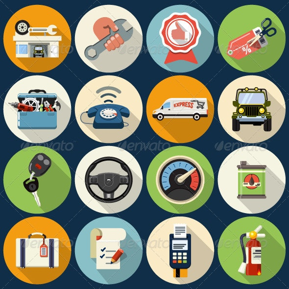 Car Service Maintenance Icons  - Web Icons