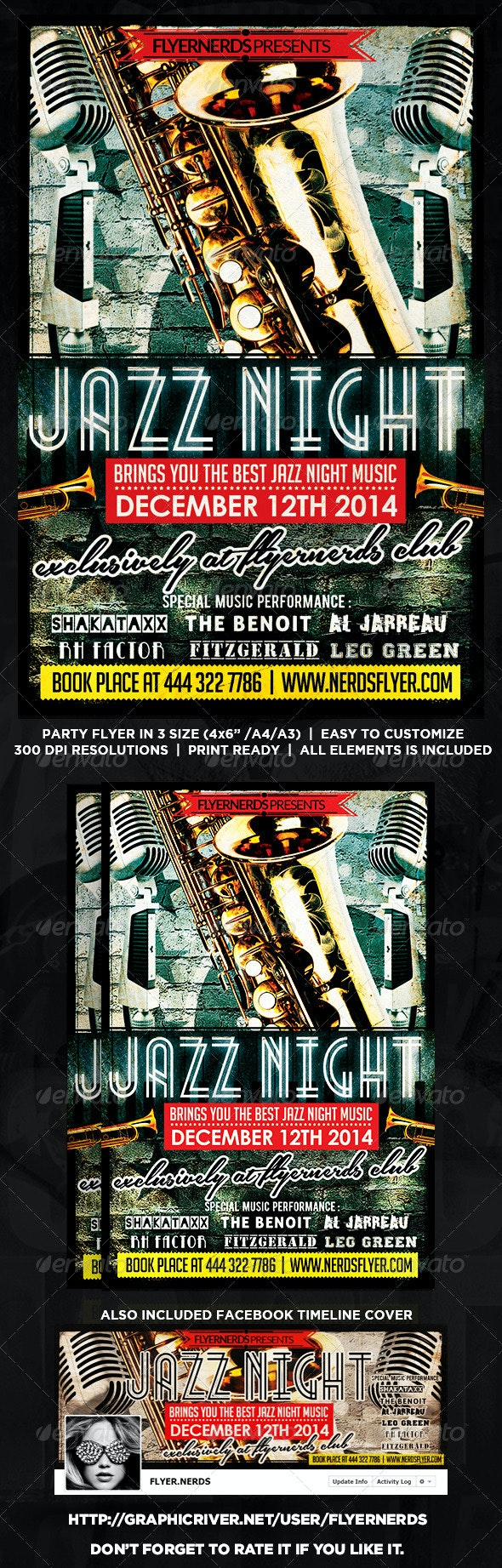 Jazz Night Music Flyer - Concerts Events