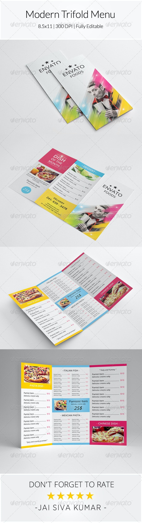 Modern Trifold Menu - Food Menus Print Templates