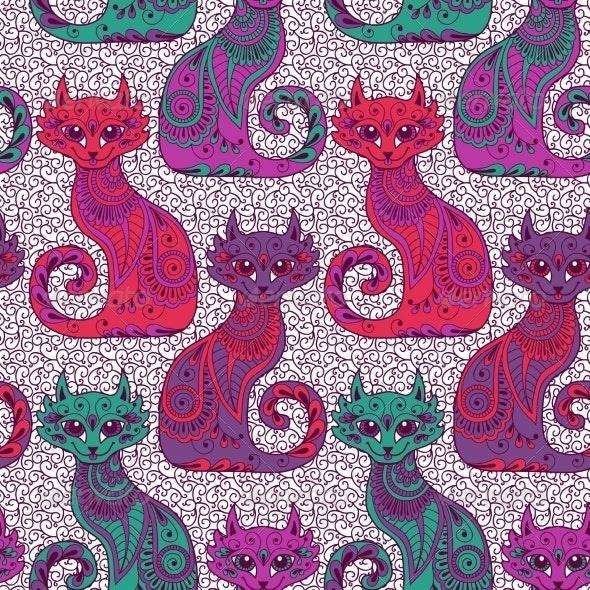 Seamless Pattern with Beautiful Cats - Patterns Decorative