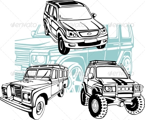 Off-Road Cars - Vector Set. - Travel Conceptual