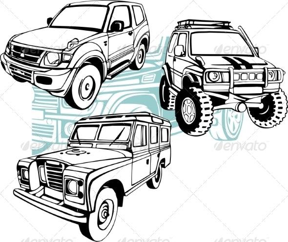 Off-Road Cars - Vector Set. - Travel Conceptual