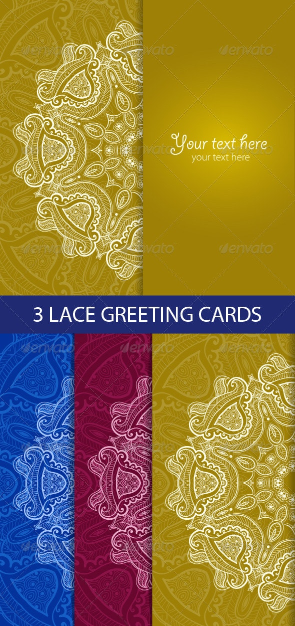 Greeting Card with Lace Round Ornament - Backgrounds Decorative