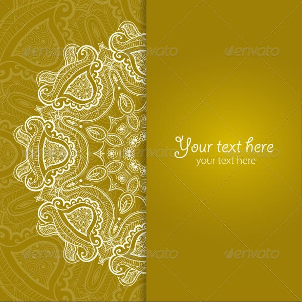 Greeting Card with Lace Round Ornament