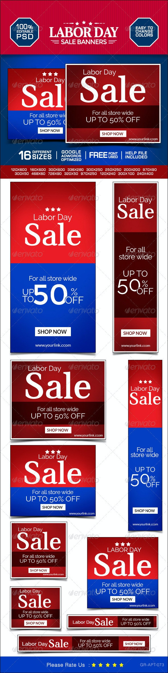 Labor Day Marketing Banners - Banners & Ads Web Elements